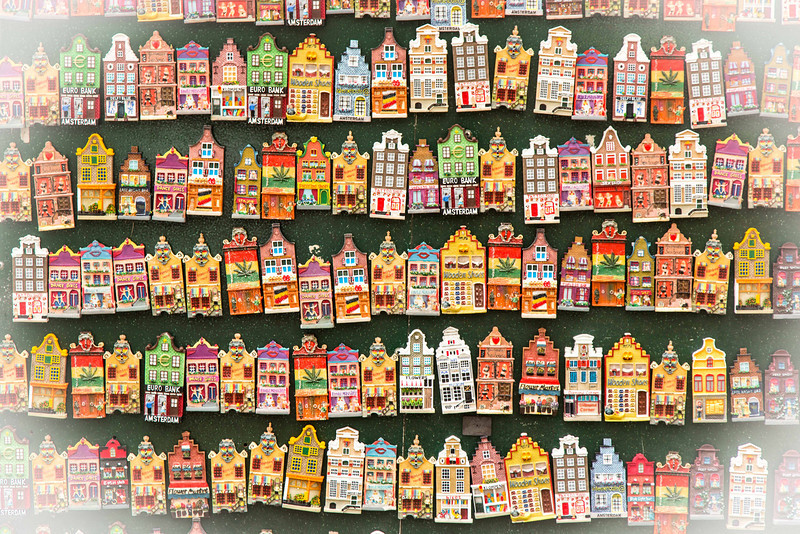 The unique housing is iconic as seen in these pins sold at a local market.