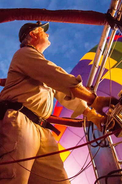 Here's our pilot blasting hot air into the balloon prior to take off.