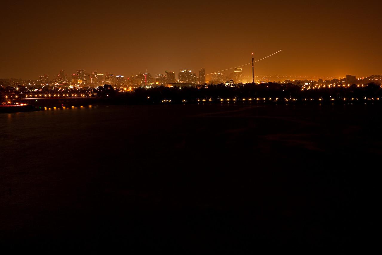 Night flight, San Diego, California