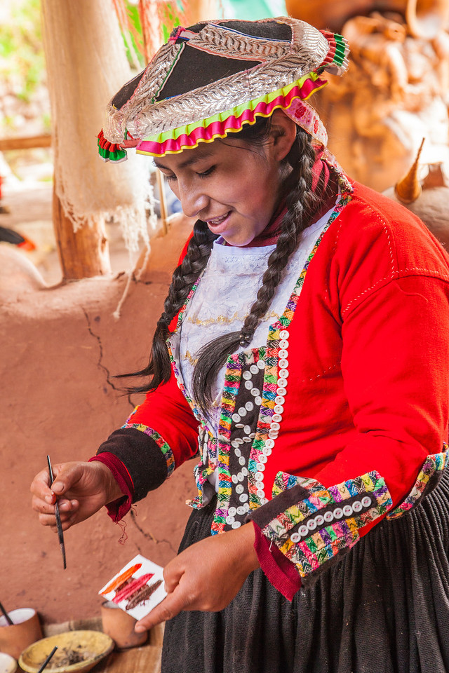 This women gladly showed us how they colored the yarn for their weaving.