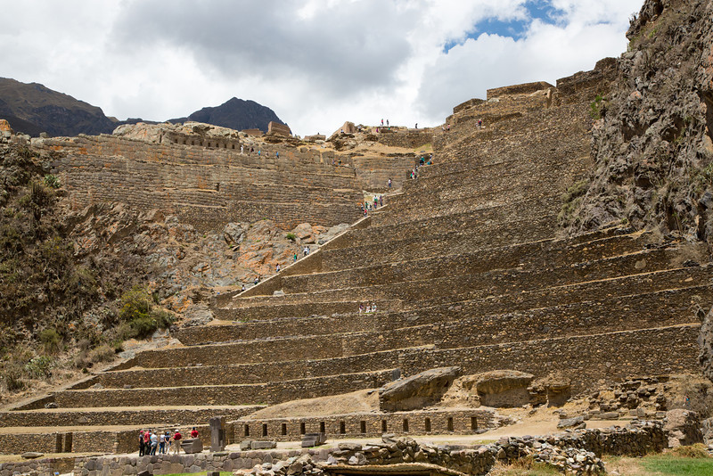 Located at Ollantaytambo is the Temple Hill and the Terraces of Pumatallis shown here