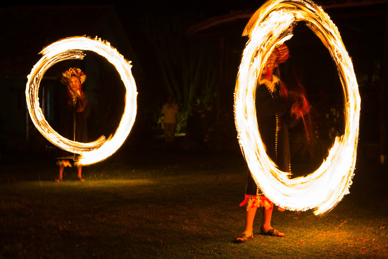 And I captured the twirling fire batons by slowing the shutter speed to create these circles