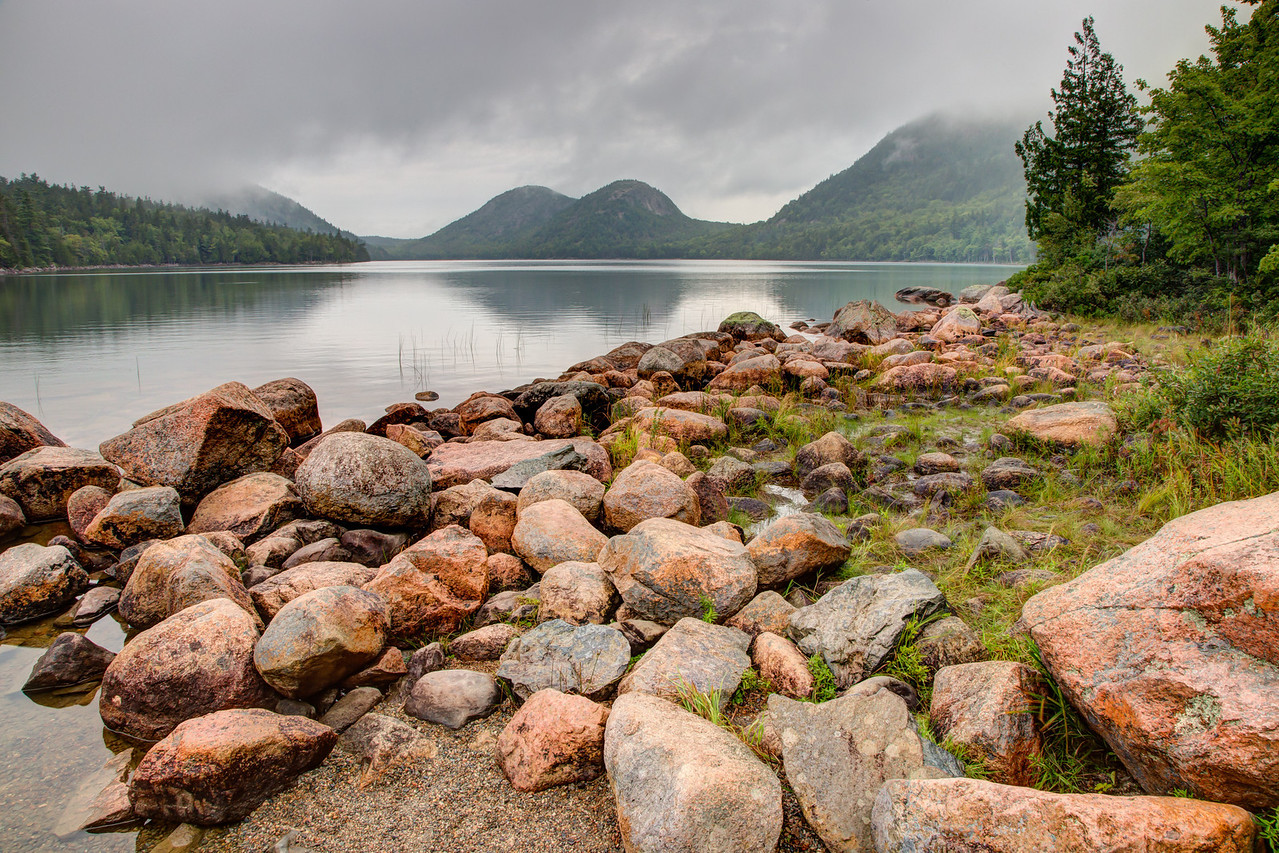 Jordan Pond in Acadia National Park on a rainy afternoon