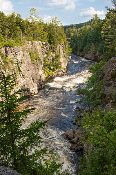 The Penobscot River roaring through a canyon along Golden Road in northern Maine