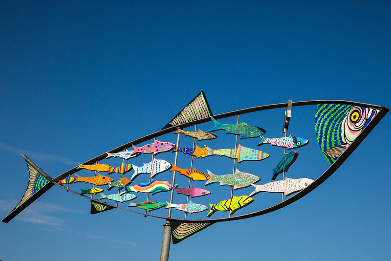 This unique weathervane lets the fish known which way the wind blows. I think that's right!