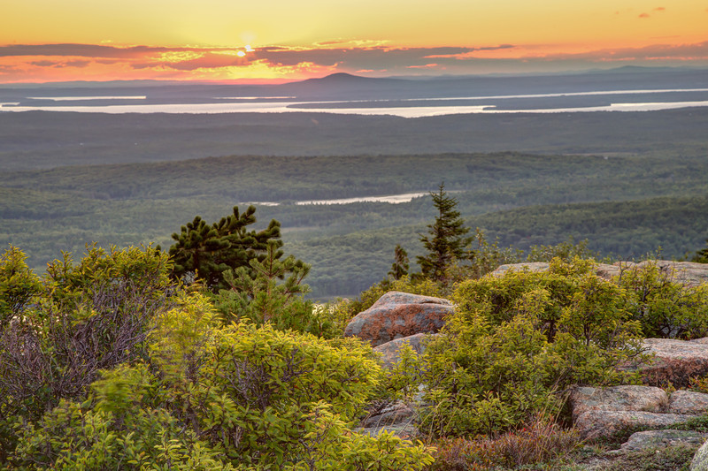 Approaching sunset viewed from the top of Cadillac Mountain in Acadia National Park