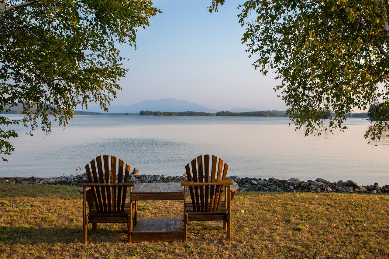 An invitation to sit and enjoy the view of Five Lakes and Mt. Katahdin