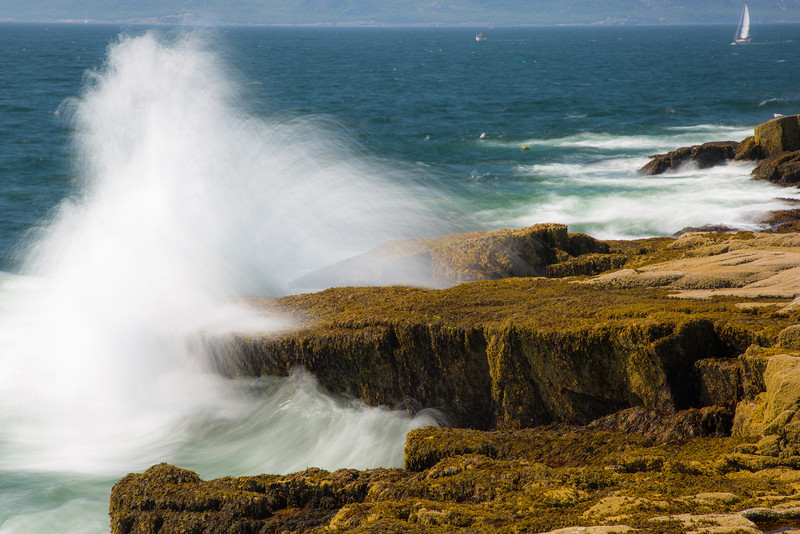 Crashing waves at Schoodic point, part of Acadia National Park
