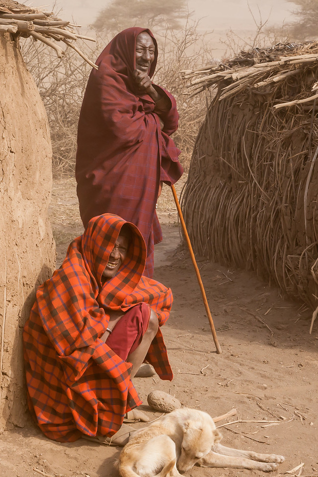 We discovered why the Masai wear sheets of clothing, called shukas, to cover their entire body. As we visited a dust storm blew to which the Masai simply pulled their shukas over their heads. If the Masai would have had Shukas for sale, they likely would have made more sales to us.
