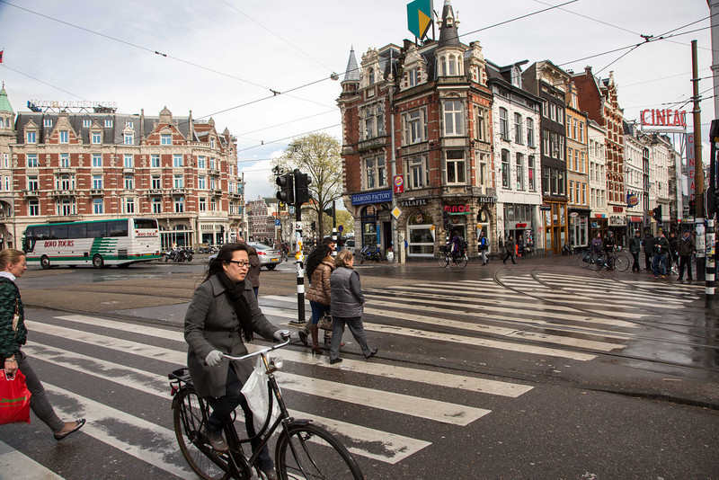 Amsterdam is a vibrant city with a great transportation system, with bicycling as the dominant mode of transportation.