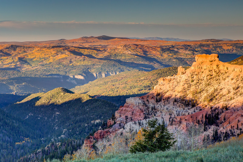From Brian Head, a ski area in southern Utah, you can see the golden Aspens across the rolling hills