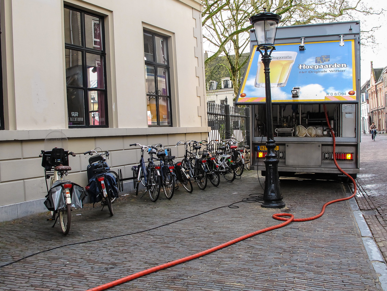 Look carefully at the picture on the back of the truck and you'll see what was running through the orange hose.  Yes, it was beer being brought into the bar in the Court Hotel in Utrecht where we stayed!