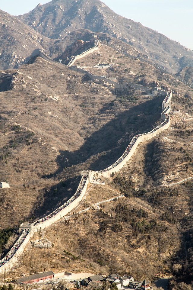 As the Wall serpentines through the mountains you can see the thousands of people who visit it each day.