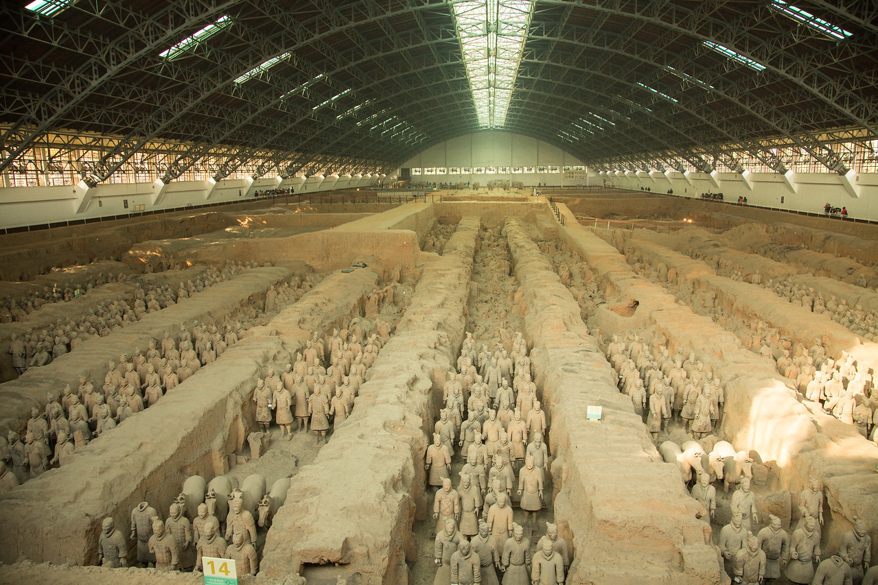 One of the world's great wonders is the discovery of the Terracotta Warriors and here we stand looking at this awesome display of restored warriors.