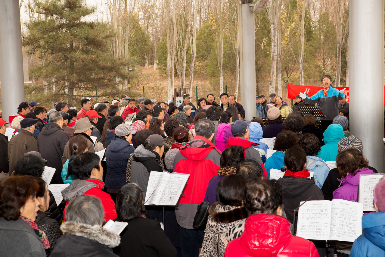 Here is a group of people who were singing traditional Chinese songs. We were told that they too come together voluntarily to participate.