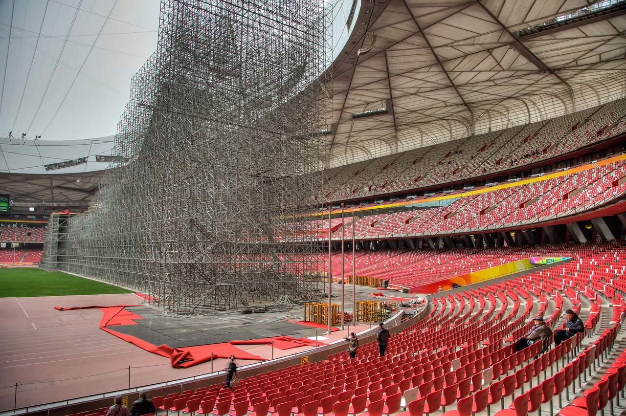 On the other half of the stadium this scaffolding was being built to bring ski jumping into the stadium.