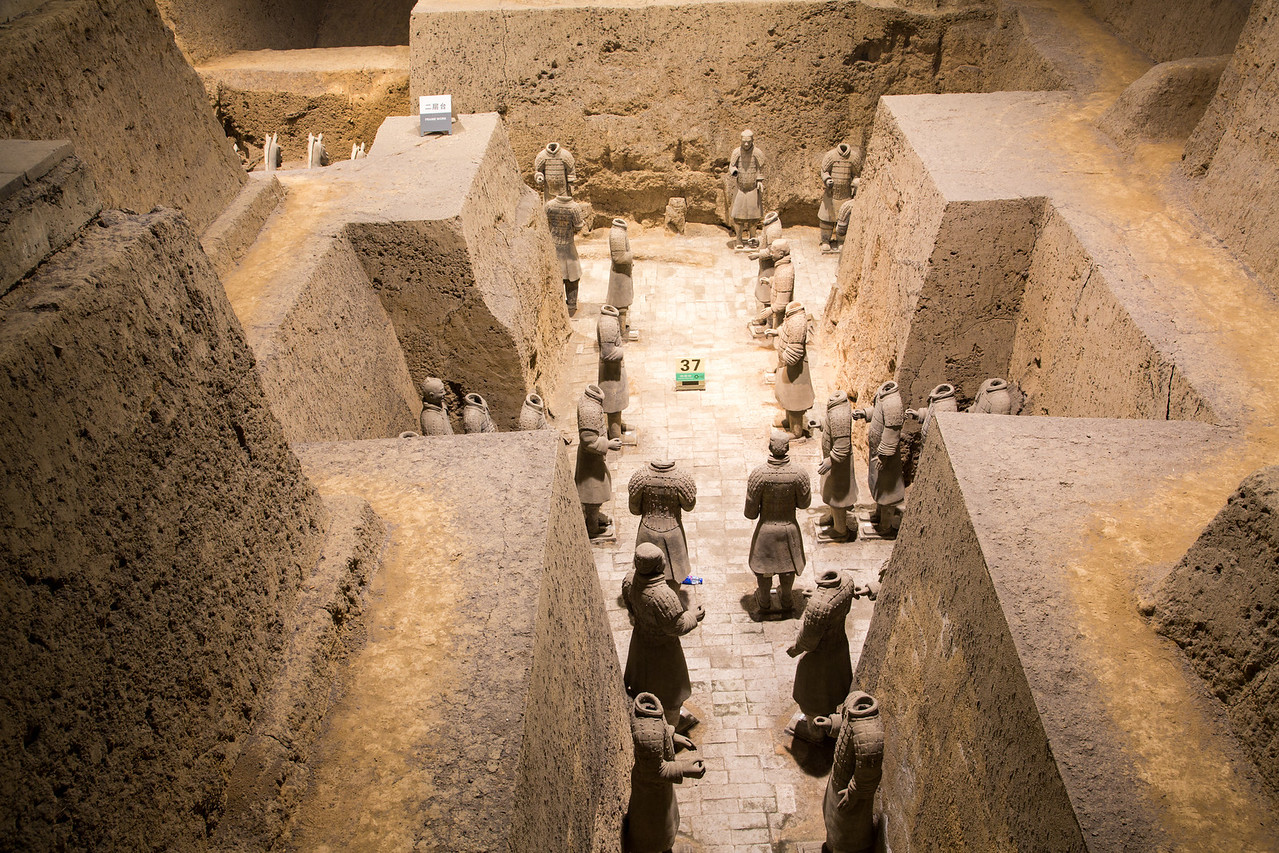Here is another pit in which they've recovered terracotta warriors.