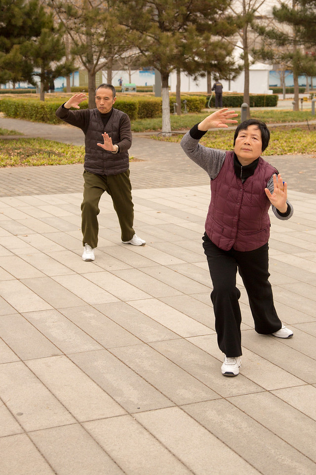 We saw this couple doing Tai Chi in the park. They had just finished but we asked them if they would do another exercise. They happily put on the music and performed a beautiful routine for us.