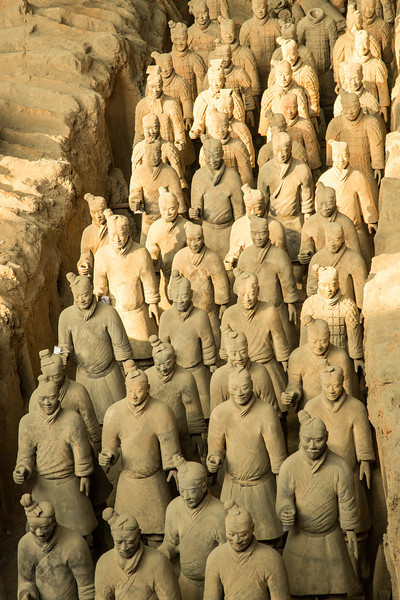 These terracotta sculptures depict the army of Qin Shi Huang, the first emperor of China.