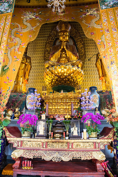 The shrine inside the buddhist temple. We were told that Buddhism is the dominant religion but 80% of the population are non-believers.