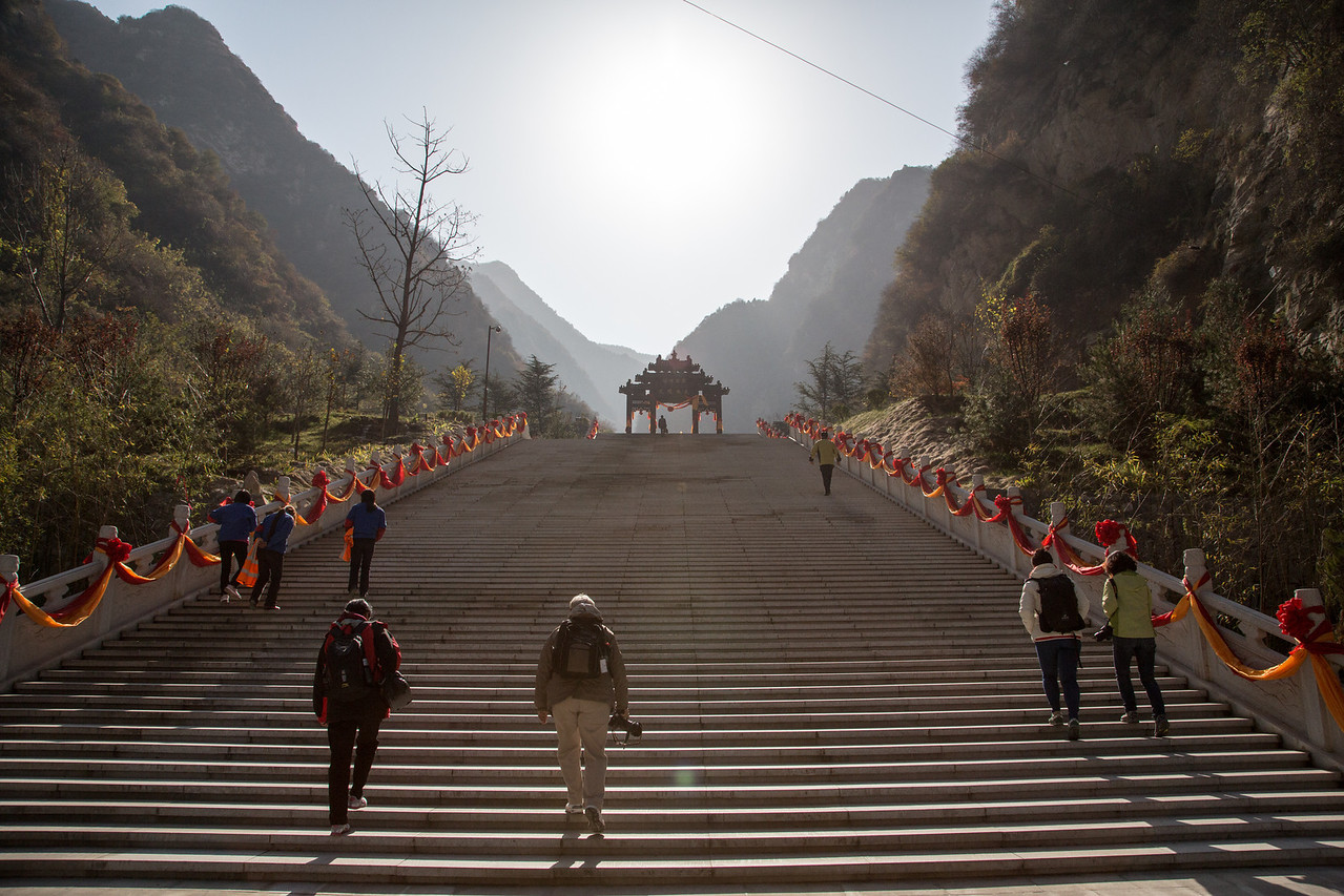 The next morning we were climbing stairs again as we approached Huashan Mountain outside Xian.