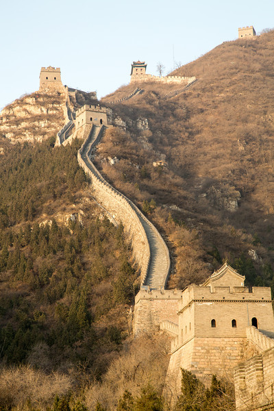 The Great Wall, built primarily to protect China from marauding tribes to the Norh, also include watch towers and garrisons to house soldiers.
