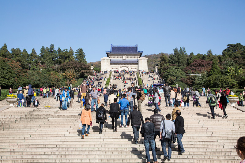 We climbed 392 stairs to see Dr. Sun Yat-sen's Mausoleum. Considered the father of the Chinese nation, he helped overthrow the Qing dynasty and in 1912 became the first president of the modern era of China.