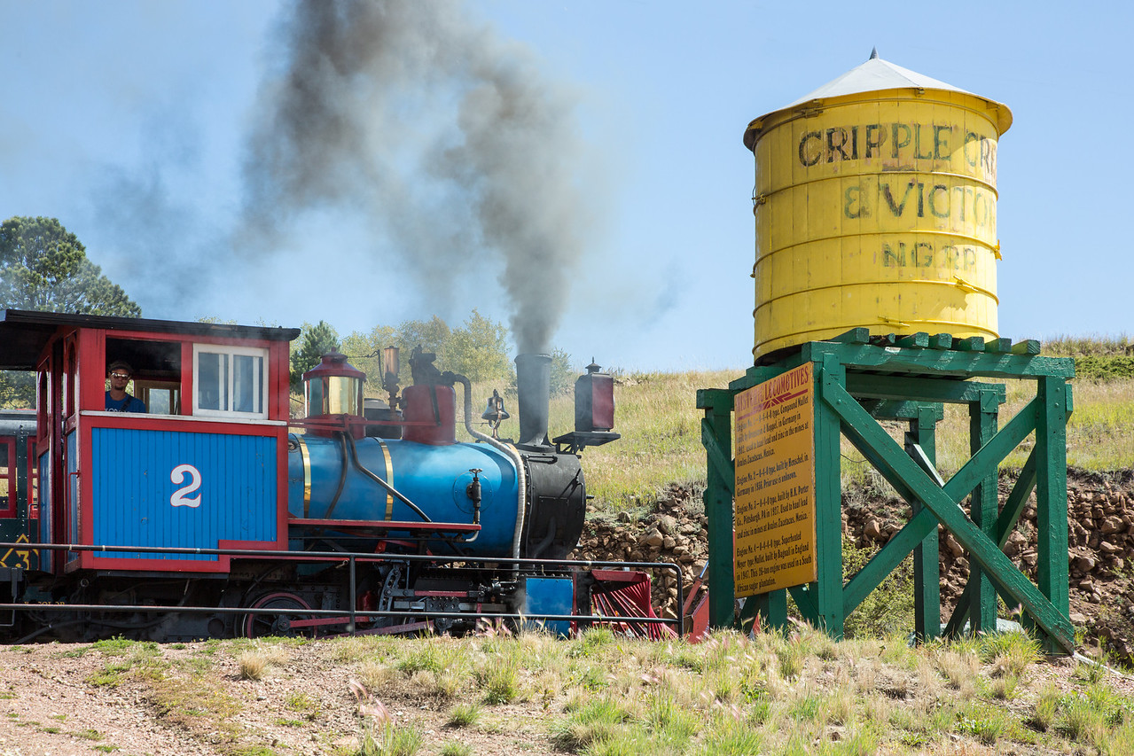 Restored narrow gauge train in Cripple Creek, CO