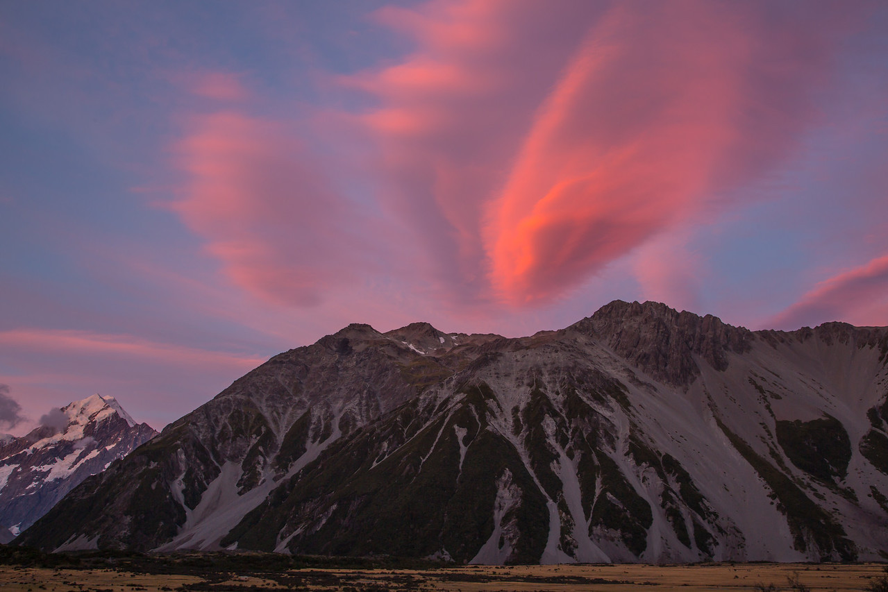 Sunset skies in the Mt. Cook area.