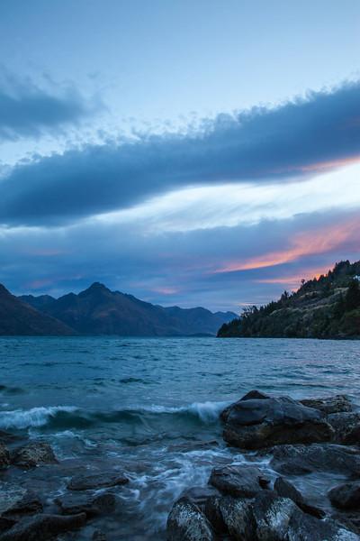 A view across Lake Wakitipu toward Cecil Peak.