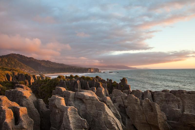 Sunset at The Pancake Rocks in Punakaiki.