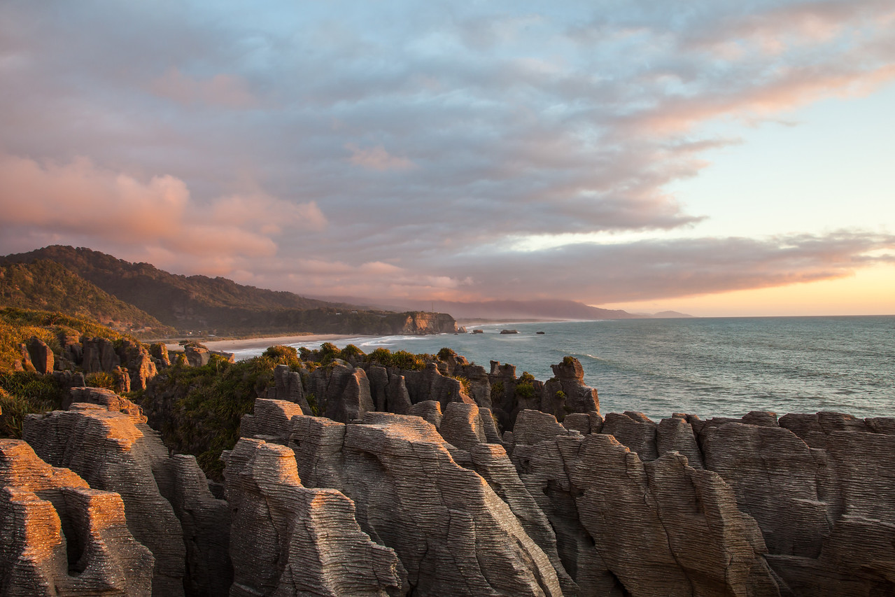 Sunset at The Pancake Rocks in Punakaiki.