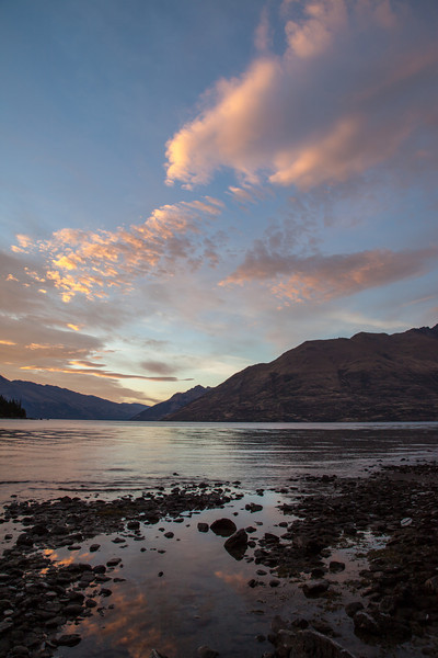 Later in the day at Lake Wakatipu looking toward Walter Peak as the sun was setting.