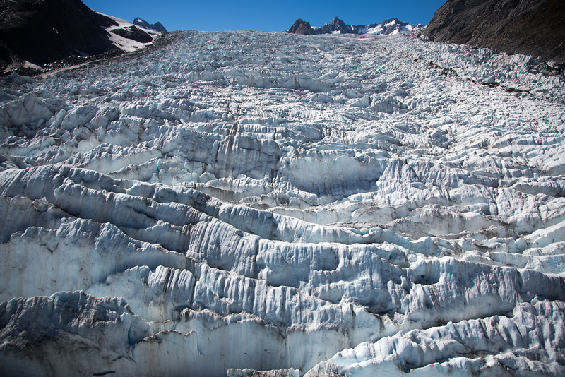 The helicopter hovered down low over Fox Glacier for this close-up view.