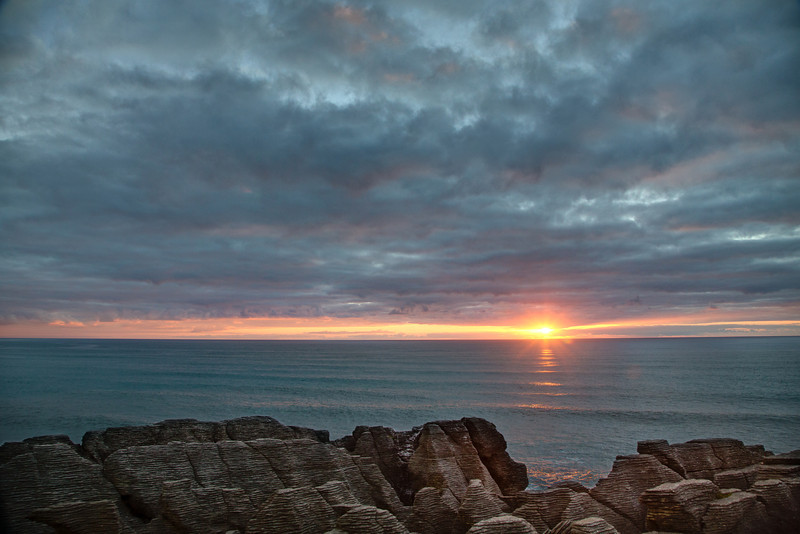 Sunset at Punakaiki.