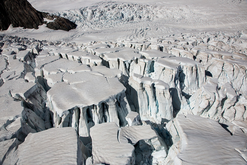 Above the glacier, the massive ice fields make for intriguing formations.