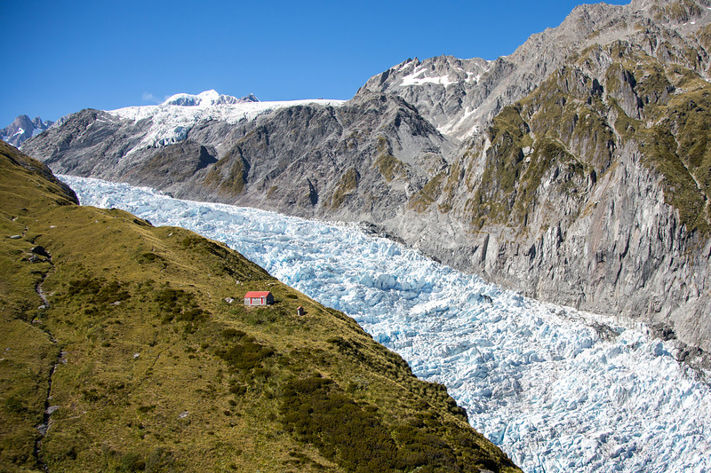 The spectacular Fox Glacier on a clear day.