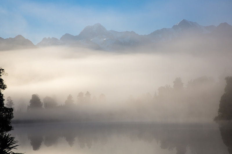 We followed our guide to this location to photograph Lake Matheson and we were greeted with fog that rolled in and out.