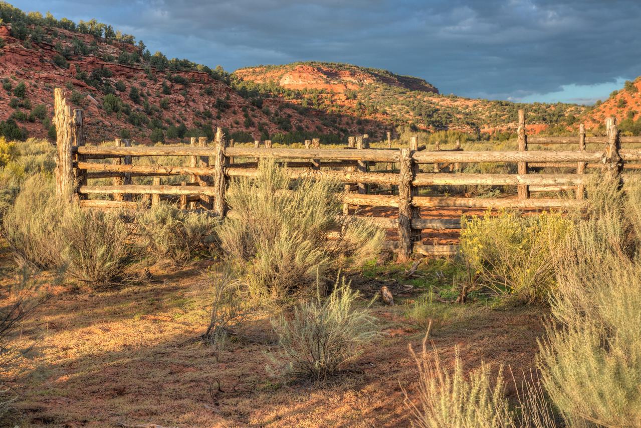 Cattle roundup pen in a canyon near Kanab, Utah.