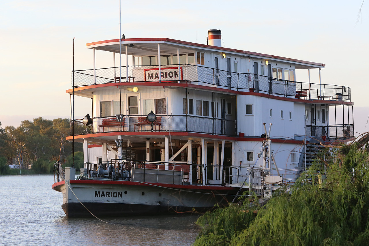We stayed in Mannum, South Australia alongside the River Murray. The Marion, an old steamer, was tied up outside our motel.