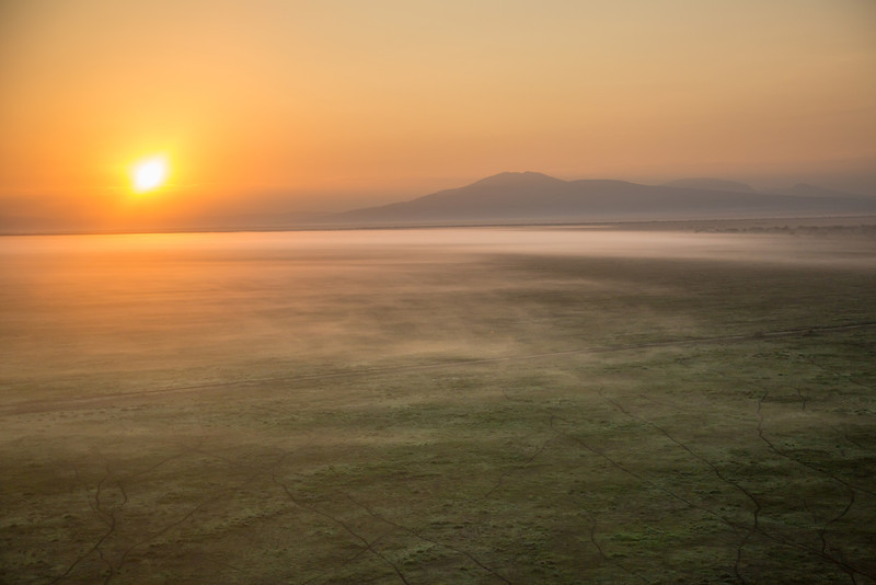 A moment of tranquility -- the rising sun revealing the surface mist as we silently drifted above the Masi Mara.