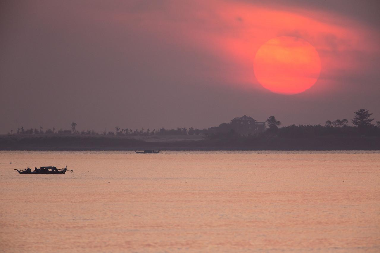 Sunrise as we began cruising the Mekong.