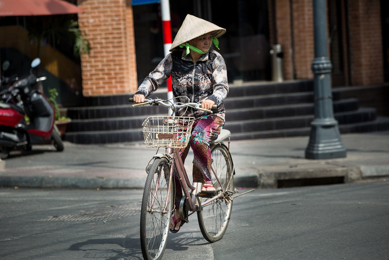 Biking is a common way to move about the city.