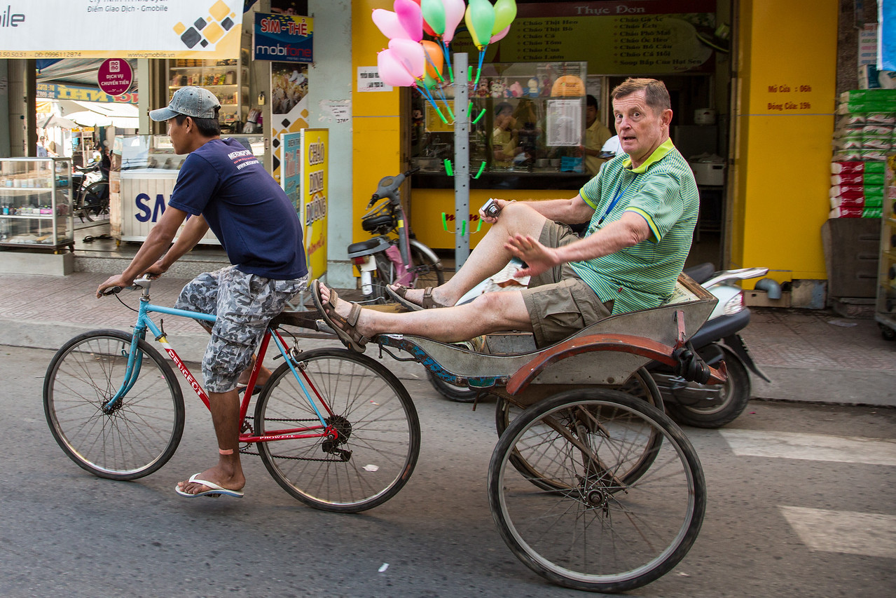 Joe Pahl traveling on trishaw in Chau Doc.