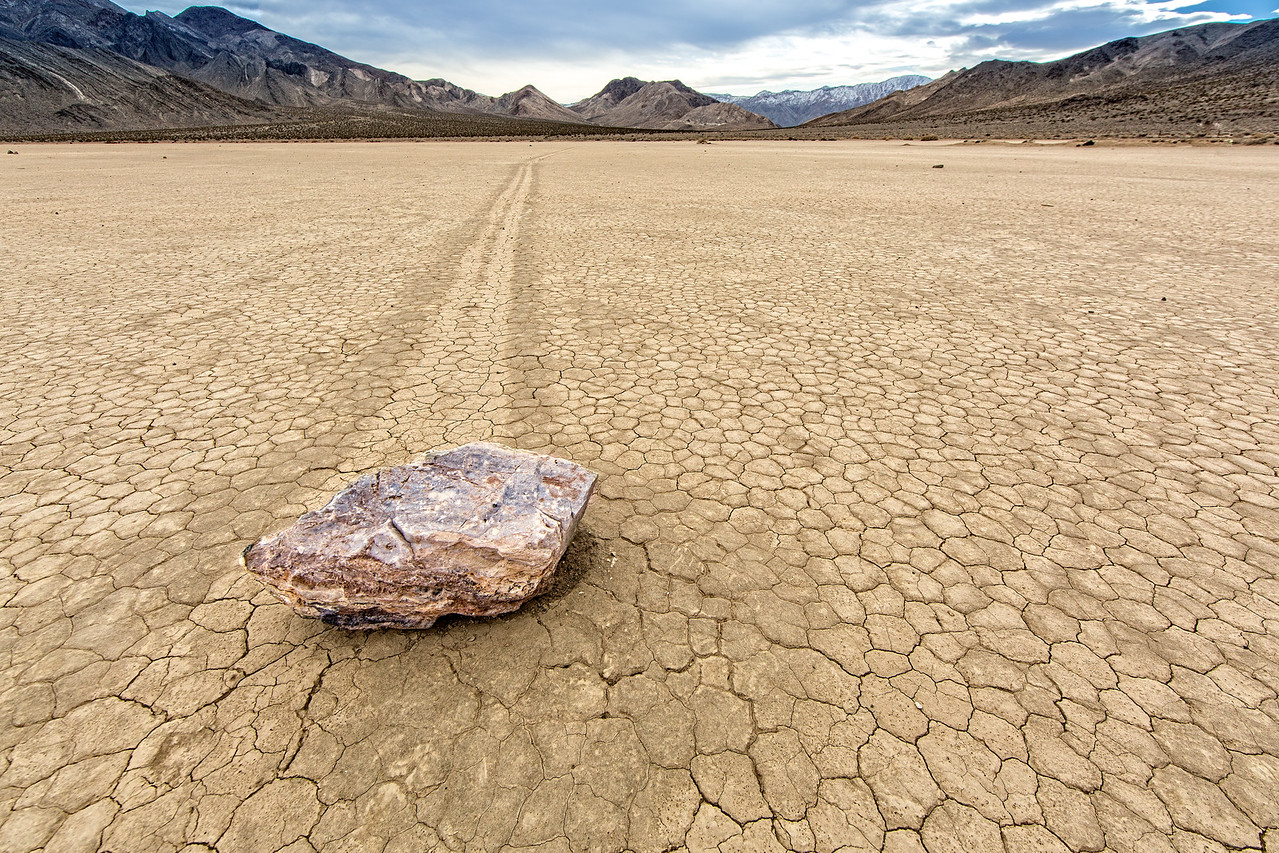 It's a mystery how these rocks slide leaving pronounced tracks
