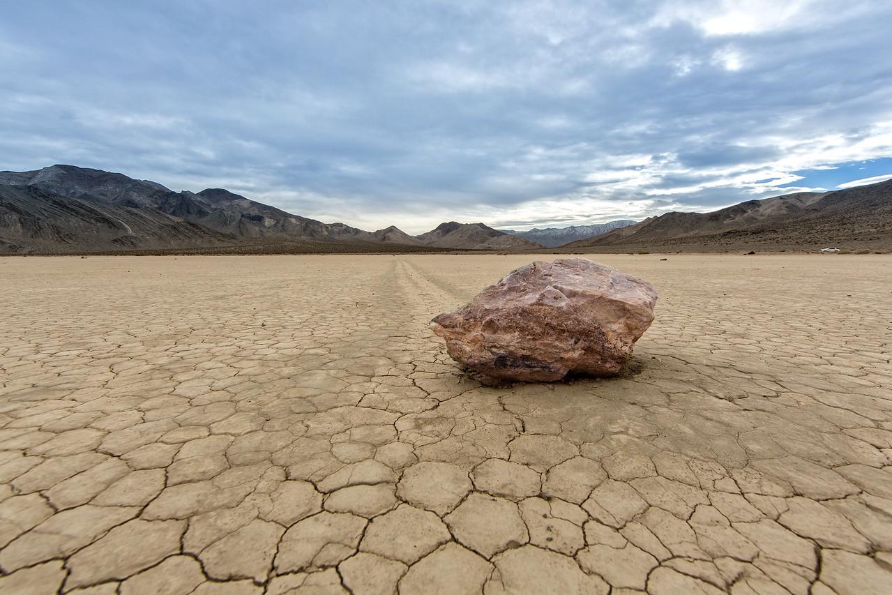 Sliding rock on surface of playa, a dried up basin