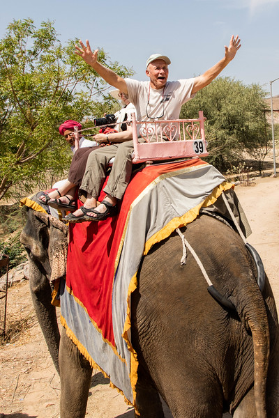 Riding an elephant in Jaipur.