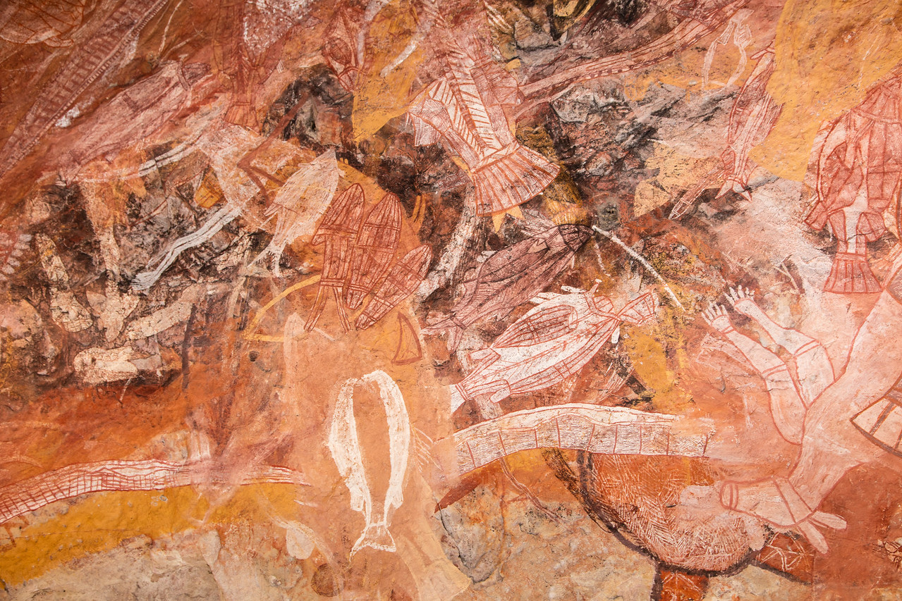 Unlike a blackboard where you could erase and begin again, when they ran out of rock aboriginals just painted over older art.