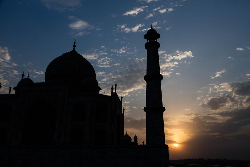 The Taj Mahal as the sun sets.