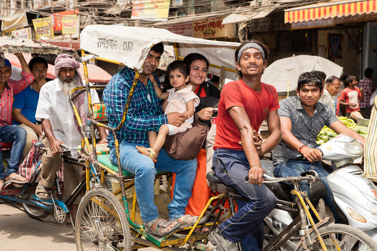 Rickshaw congestion on the streets of Old Delhi.